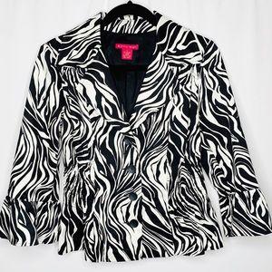 Sunny Leigh Zebra Striped Bell Sleeve Jacket Sz 10